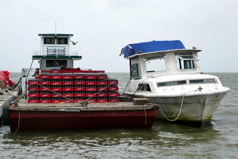 Delivery boat in Livingston, Guatemala.