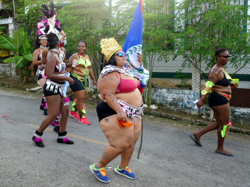 fat lady dancing during Belize's Independence Day in Benque Viejo del Carmen