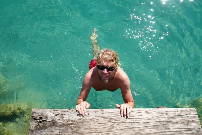 Tom swimming in Laguna Lachua