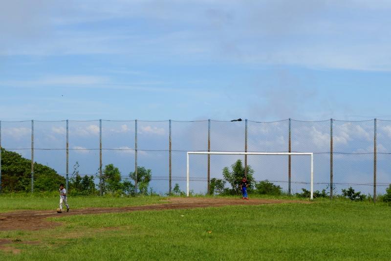Boys playing football in Alegría, El Salvador.