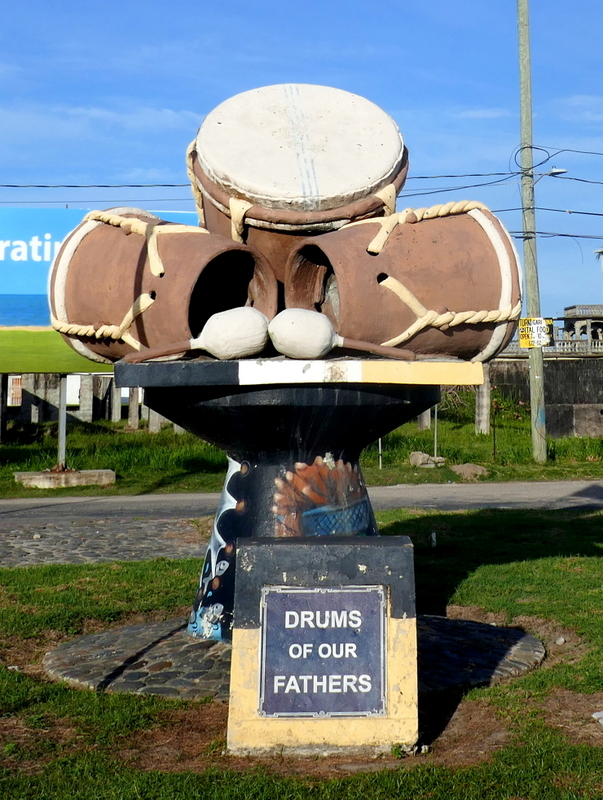 Drums of Our Fathers monument at the entry of Dangriga.