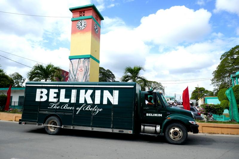 Beer in Belize means Belikin: a Belikin truck passes by in Orange Walk, Belize.