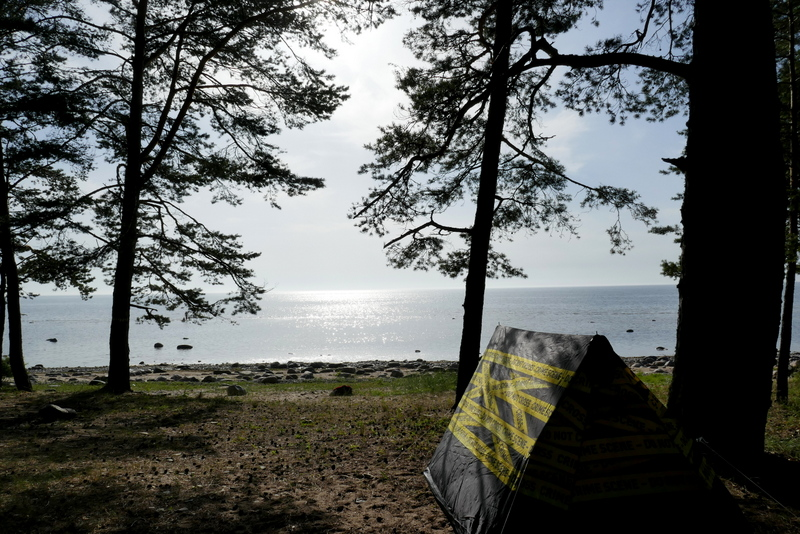 The freedom to roam allows for wild camping- our tent on the beach of Krapi.