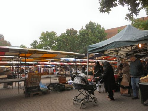 Gloucester Green Market in late September on a foggy morning