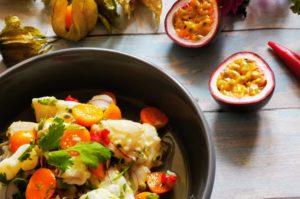 Ceviche mit Maracuja und Physalis