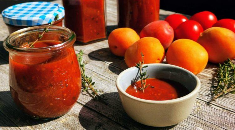 Tomaten Aprikosen Thymian Marmelade