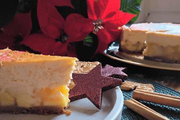 Apfel-Spekulatius-Cheesecake - Weihnachtlicher Kaesekuchen-header