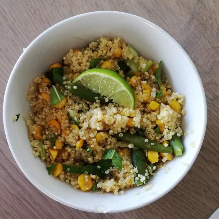 salade van Quinoa met mais en sperziebonen