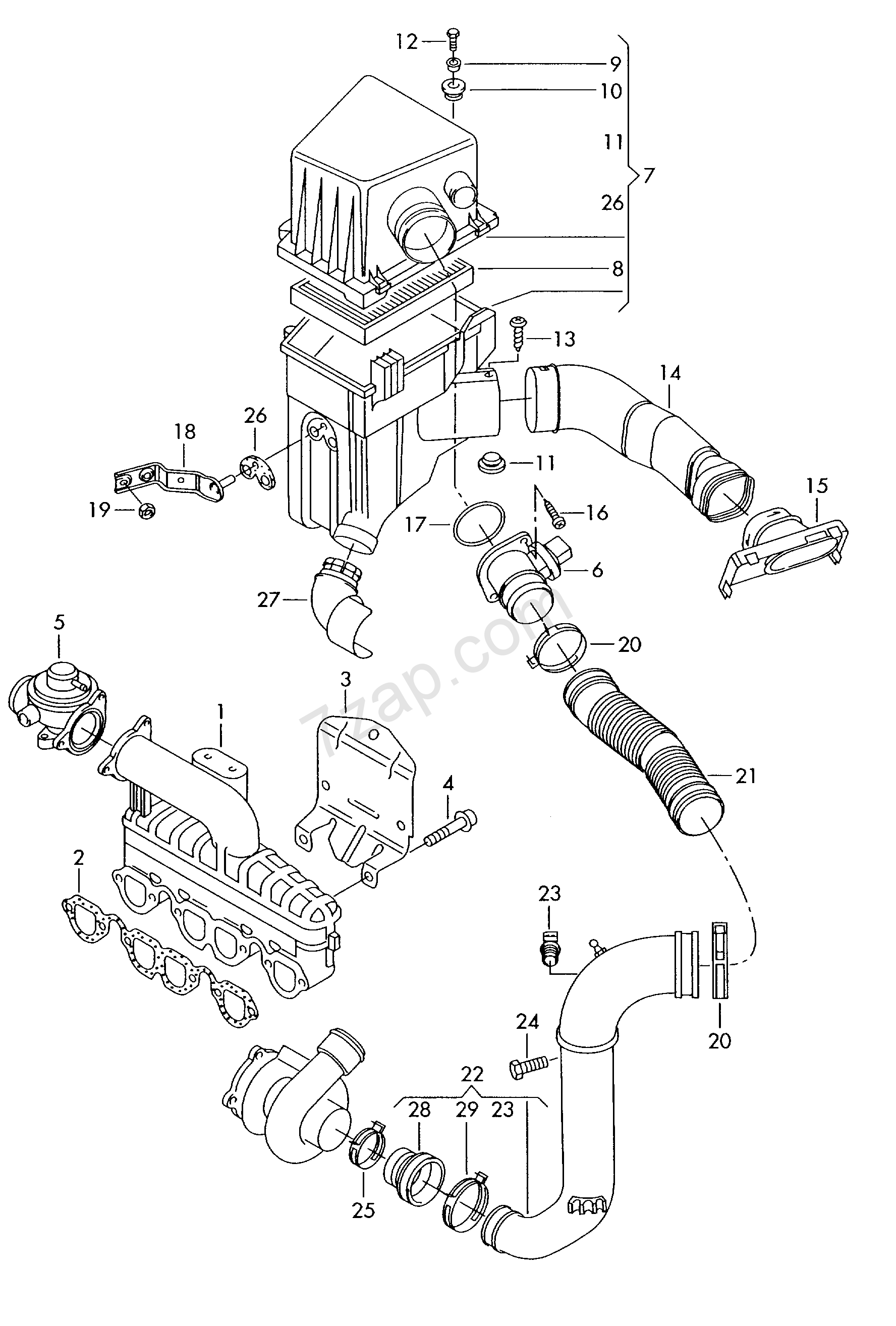 Intake Connection Air Filter With Connecting Par Polo
