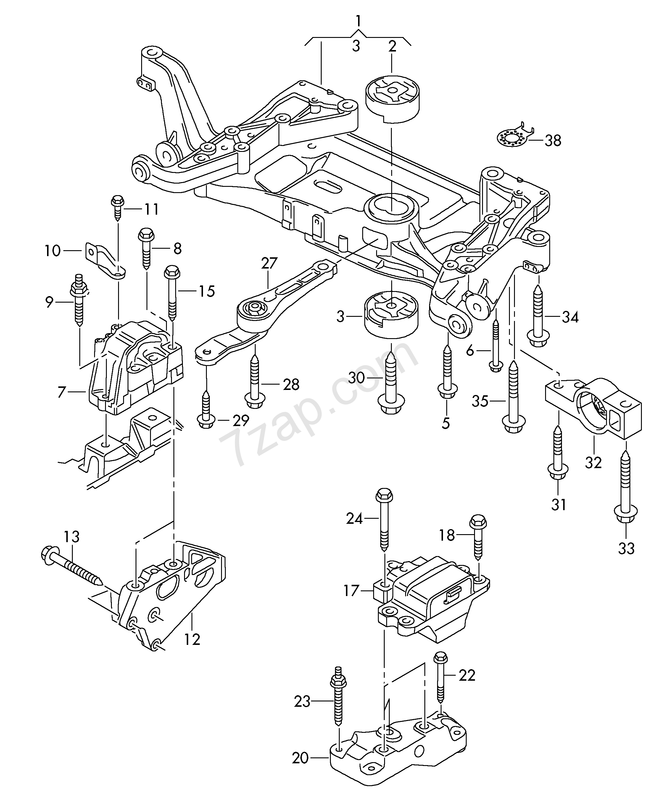 Mounting Parts For Engine And Transmission Magotan Mag