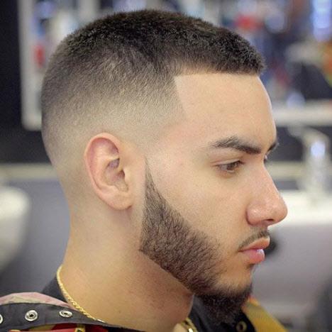 Men's half-box haircut without bangs
