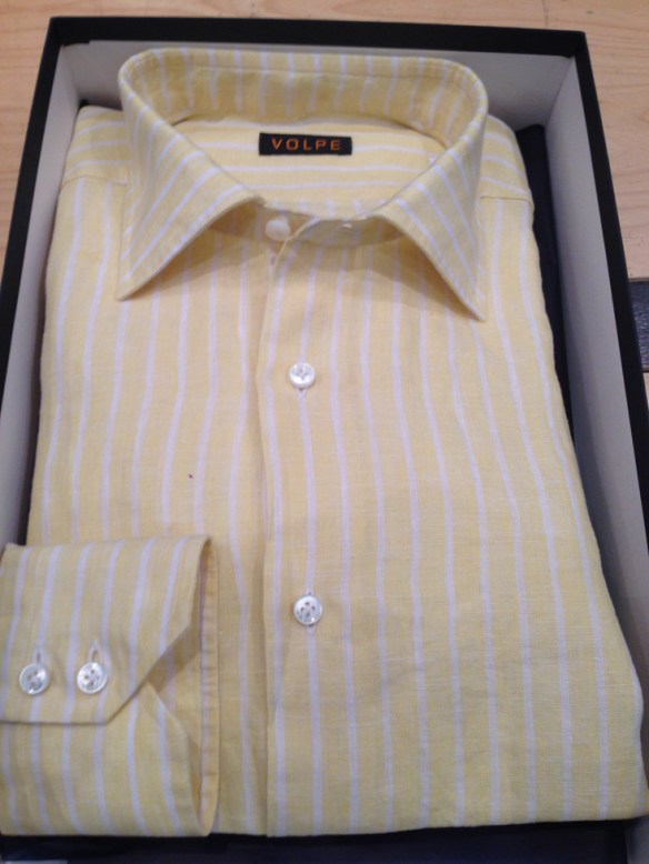 Yellow and White washed Linen Stripe