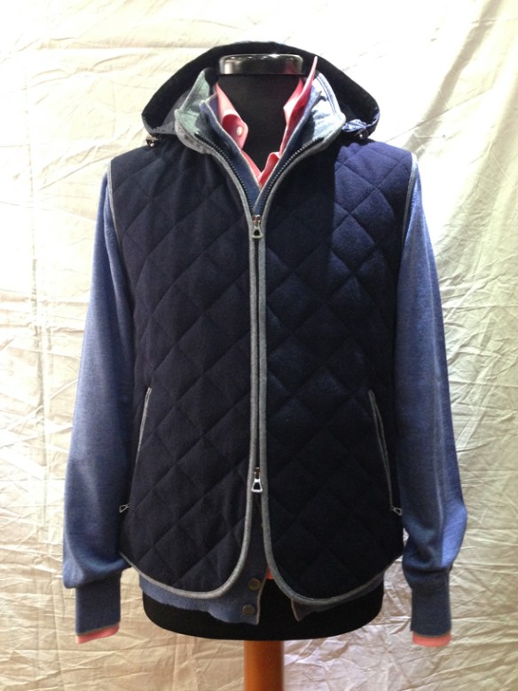Blue Gilet - with removable hood