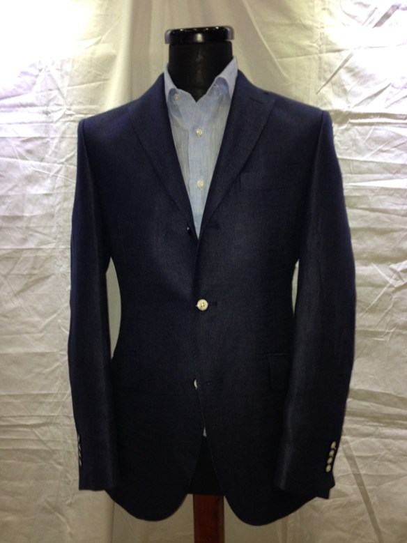 Navy Blue linen / wool hopsack half-lined jacket  with elbow patch (75% linen / 25% wool)