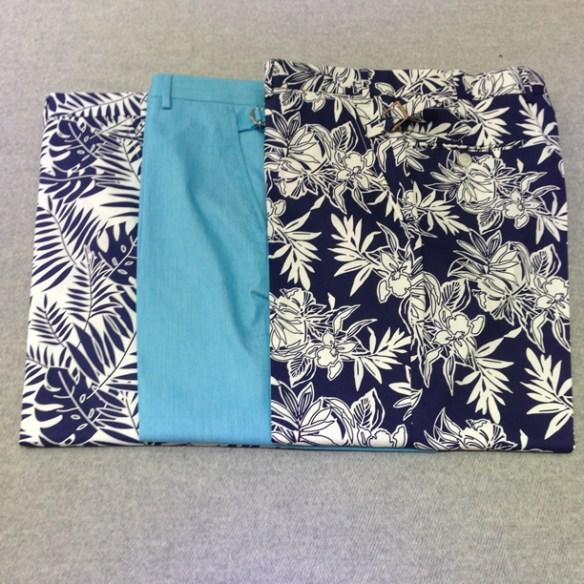 Floral design stretch cotton (97% cotton / 3% lycra) and Light Blue cotton trousers (100% cotton)