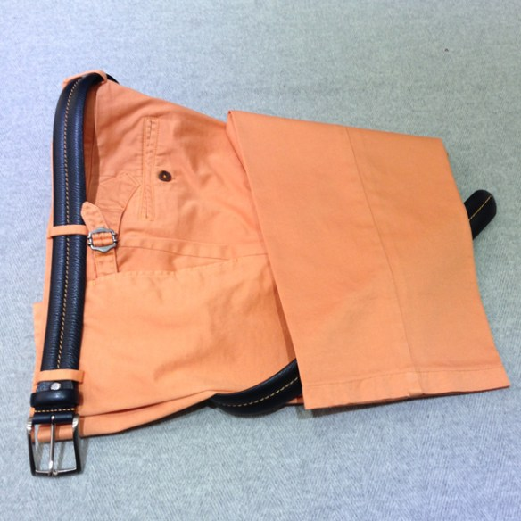 Washed Orange cotton Navy Blue with Orange stitch belt