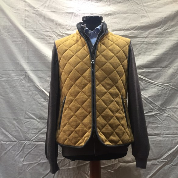 Yellow wool Hollofil quilted Gilet