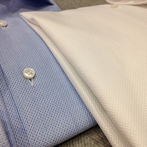 White and Blue cotton Airtex (100% cotton)