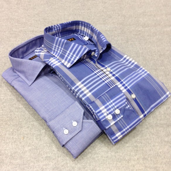 Large Check Blue and Blue Self Patterned Shirt