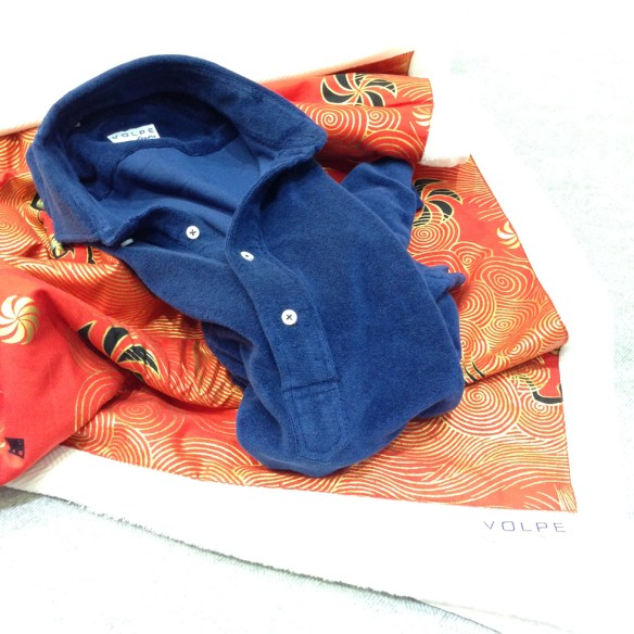 Navy Blue Towelling Pop-over Short sleeved Shirt