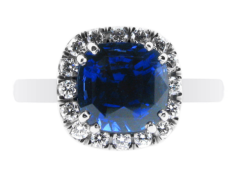 Blue Sapphire Ring Halo Style – ER 1169