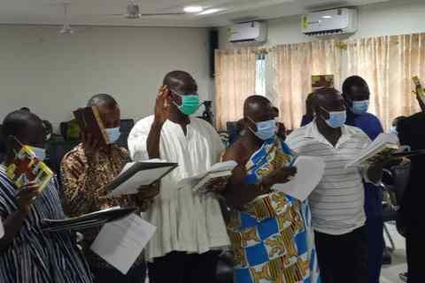 Board members taking their oath of office
