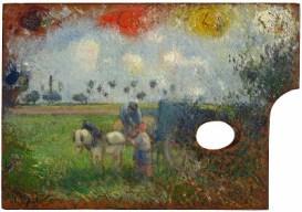Pissarro - La paleta del artista con paisaje (1878) [Sterling and Francine Clark Institute]
