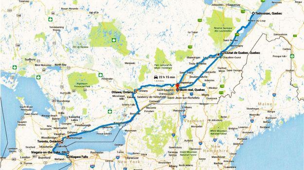 Mapa viatge Canadà - 1era part - Ciutats costa Est