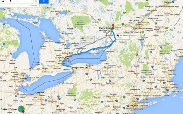 mapa de Niàgara Falls a Ottawa-imp