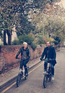 Enjoying a Sunday bike ride in town