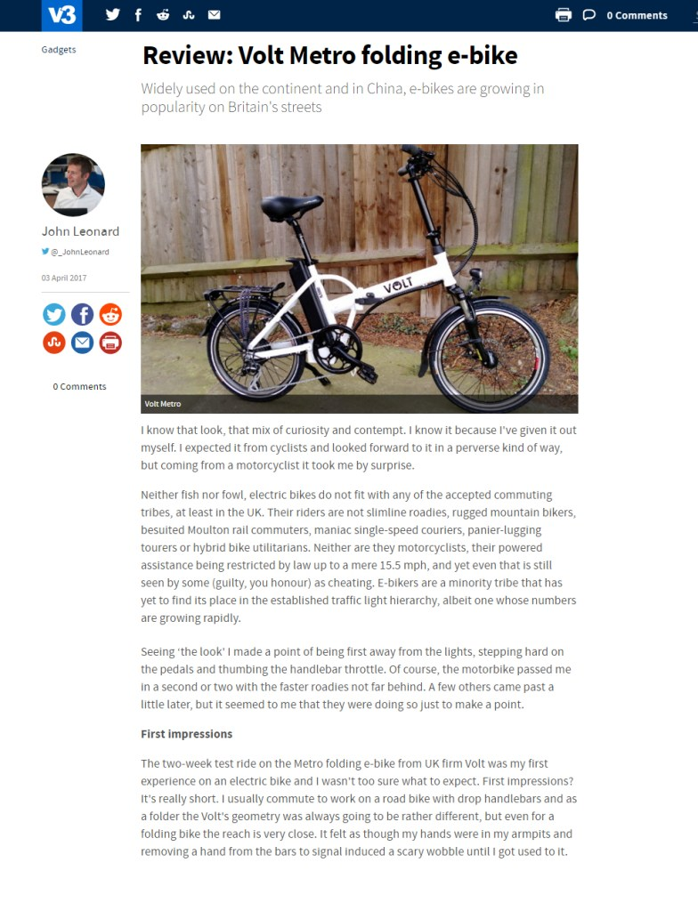 V3's review of the VOLT Metro folding e-bike