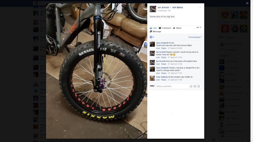 VOLT Bigfoot fat tyre bike posted on Facebook