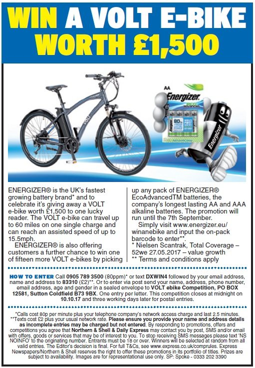 Win a VOLT e-bike worth £1,500
