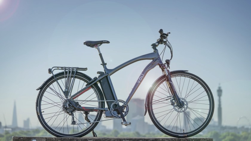 VOLT Pulse e-bike against the London skyline