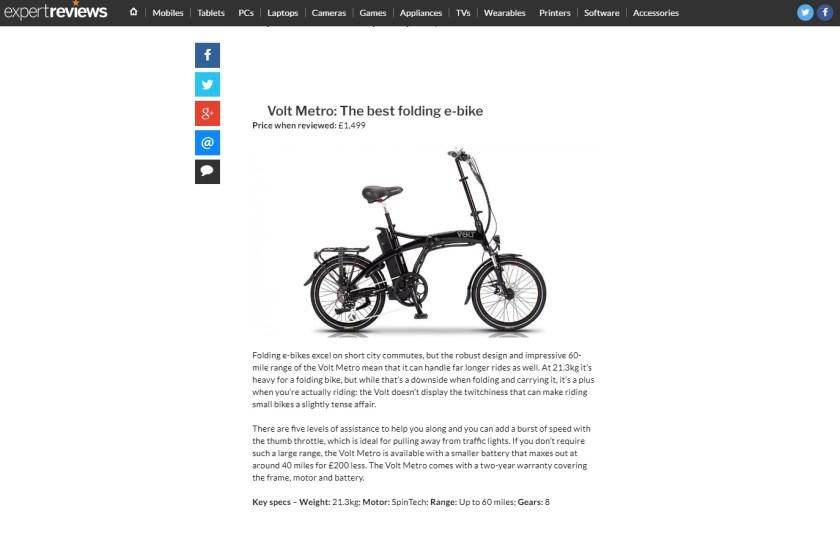 Expert Reviews features the black VOLT Metro