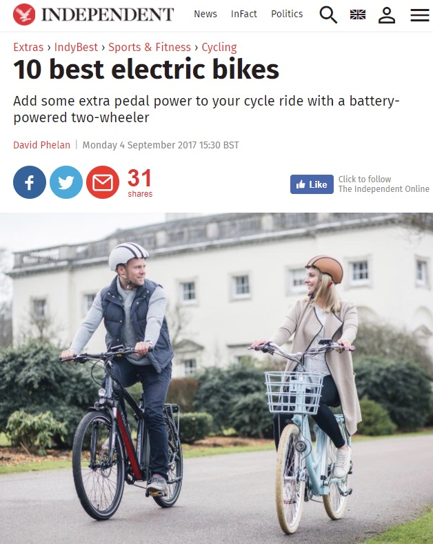 The Independent features the VOLT Pulse and VOLT Kensington amongst the 10 best electric bikes