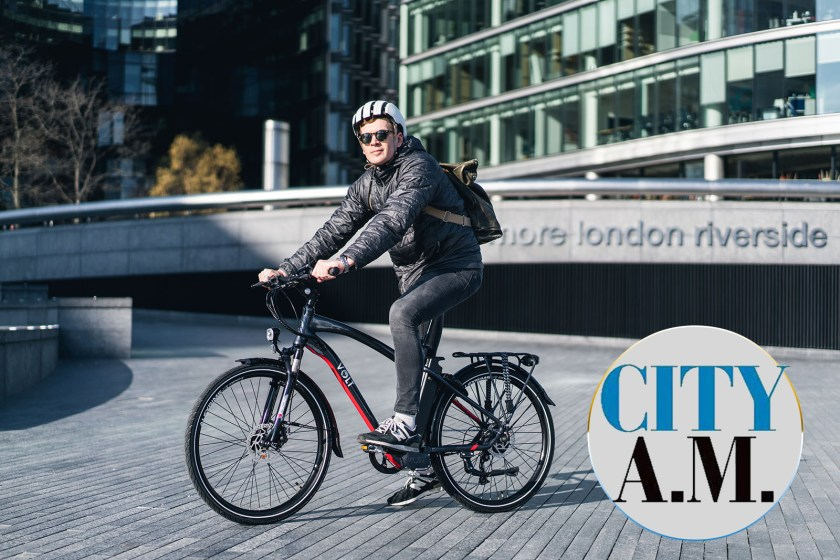 A cyclist commuting on his VOLT Pulse e-bike for City A.M.