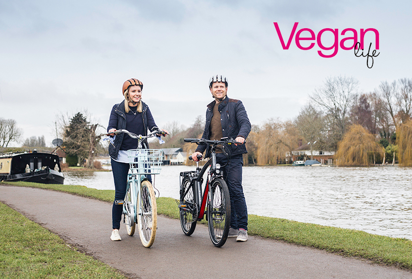 A couple rides VOLT electric bikes for Vegan Life Magazine