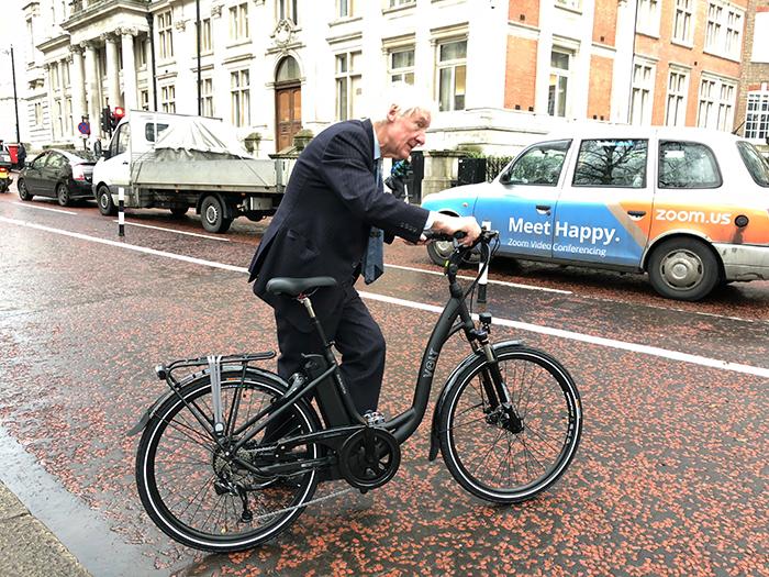 An MP rides the VOLT Burlington at Parliament.