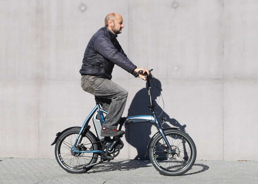 Volt Axis folding electric bike riding