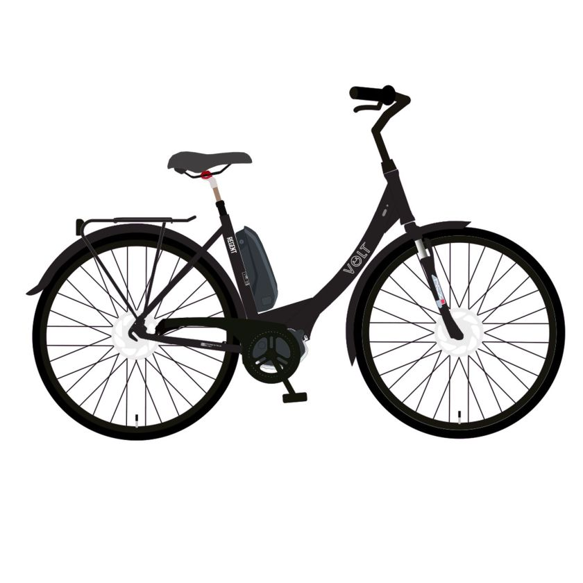 A graphic drawing and artist impression of a new black e-bike called Regent. Featuring a central crank motor and suntour front suspension