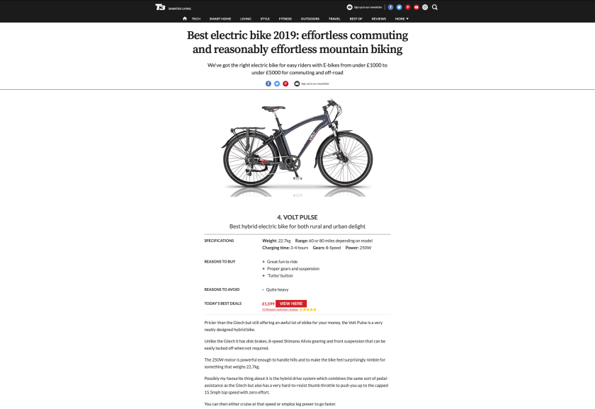 T3 Best hybrid electric bike of 2019