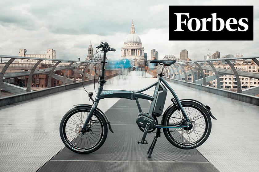 Volt Axis folding electric bike looks very pretty in Millennium Bridge, Central London