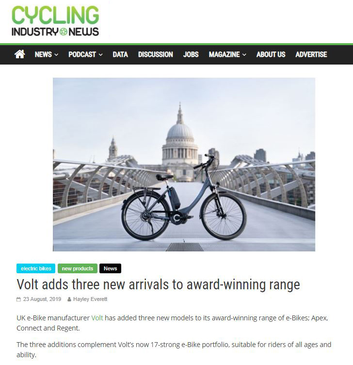 Cycling Industry News Features the New Arrivals to the Volt Range Screenshot