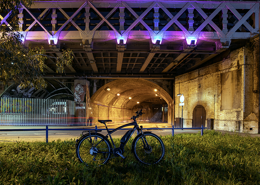 volt connect electric bike shows pretty on the dark