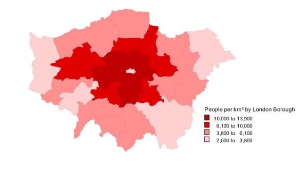 Resindential Population Density in Inner Boroughs