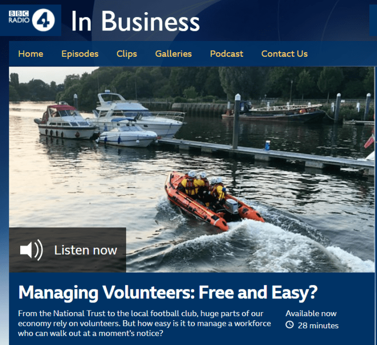 Screenshot of BBC Radio 4 In Business: Managing Volunteers episode