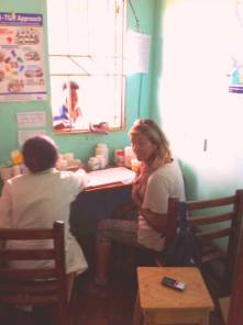 Working at the clinic in Kkoba