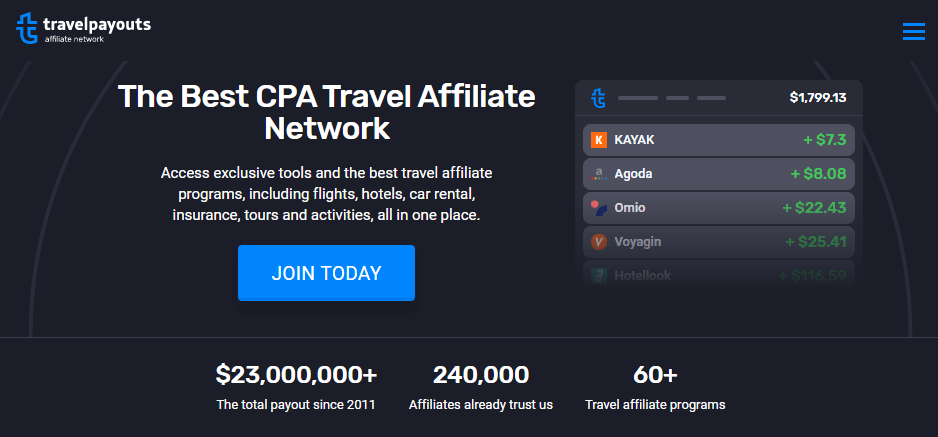 a screenshot of the travelpayouts affiliate program home page