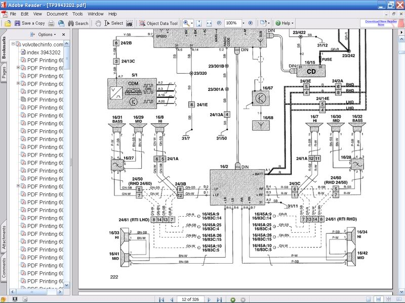 1996 Volvo 850 Stereo Wiring Diagram : Radio wiring diagram volvo with
